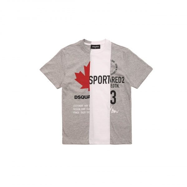 White And Grey T-Shirt With Logos