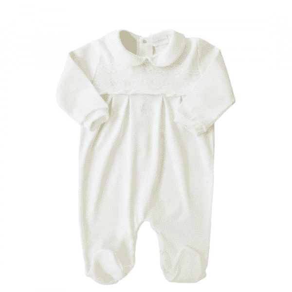 White Embroidered Sleepsuit with Logo