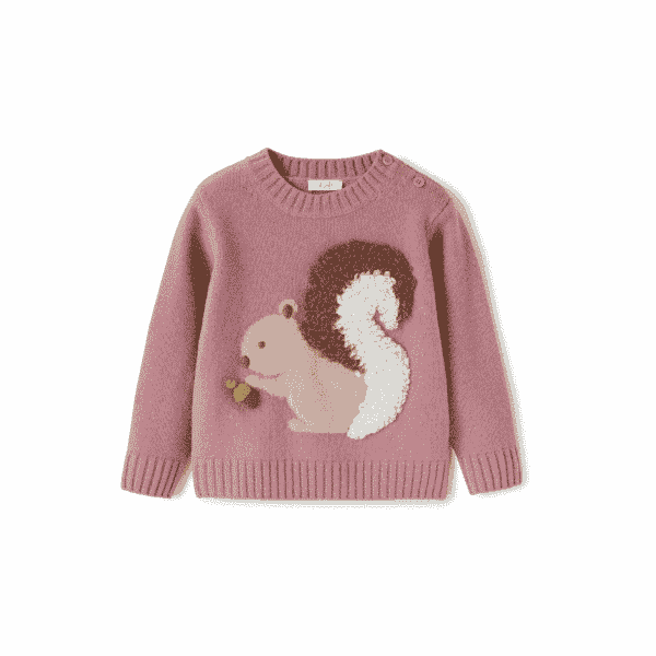 Rose Sweater With Squirrel
